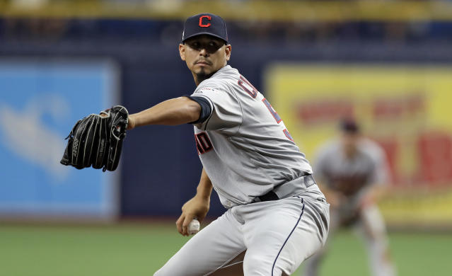 Cleveland Indians pitcher Carlos Carrasco delivers to the Tampa Bay Rays during the seventh inning of a baseball game Sunday, Sept. 1, 2019, in St. Petersburg, Fla. Carrasco is making his first appearance since May, when he was diagnosed with leukemia. (AP Photo/Chris O'Meara)