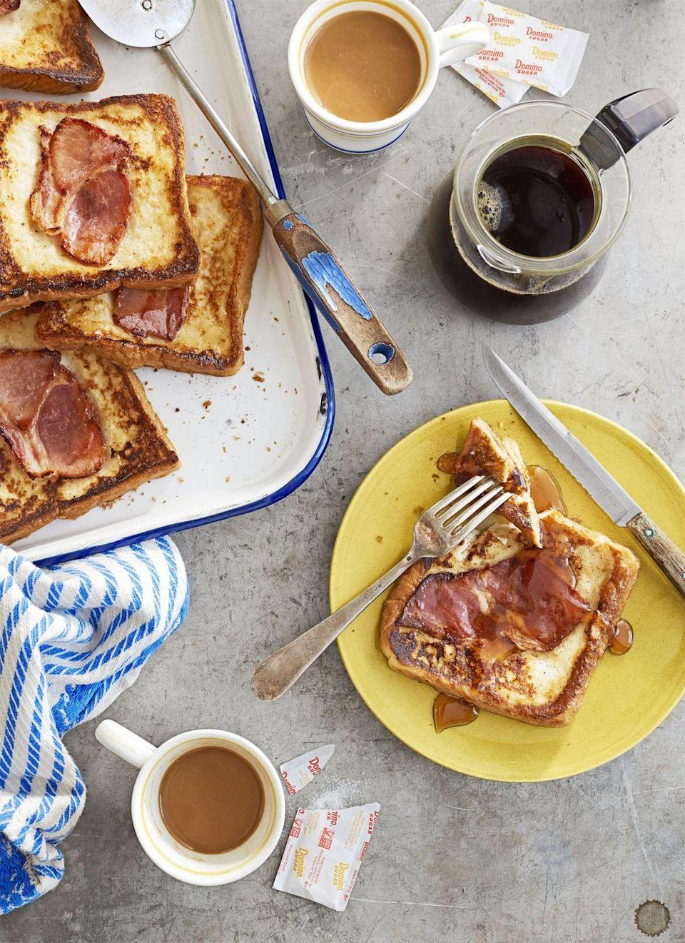 """<p>Sweet maple syrup, doughy French toast, and savory ham come together for the ultimate brunch dish.</p><p><strong><a href=""""https://www.countryliving.com/food-drinks/recipes/a41636/country-ham-french-toast-recipe/"""" rel=""""nofollow noopener"""" target=""""_blank"""" data-ylk=""""slk:Get the recipe"""" class=""""link rapid-noclick-resp"""">Get the recipe</a>.</strong></p>"""