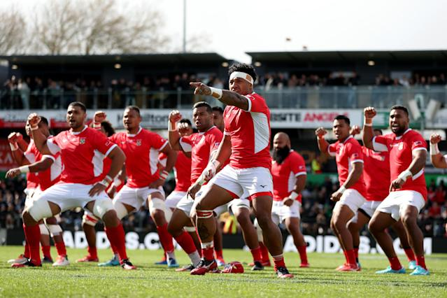 Tonga perform the Sipi Tau (Photo by Hannah Peters/Getty Images)