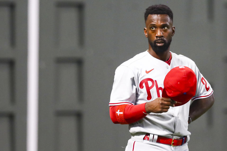 BOSTON, MA - AUGUST 18:  Andrew McCutchen #22 of the Philadelphia Phillies looks on during a game against the Boston Red Sox at Fenway Park on August 18, 2020 in Boston, Massachusetts.  (Photo by Adam Glanzman/Getty Images)