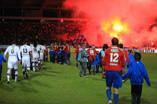 GFCO Ajaccio's players and Lyon's players arrive to play the French Cup semi-final football match GFCO Ajaccio vs Lyon in the Francois Coty stadium in Ajaccio, Corsica. Lyon won 4-0