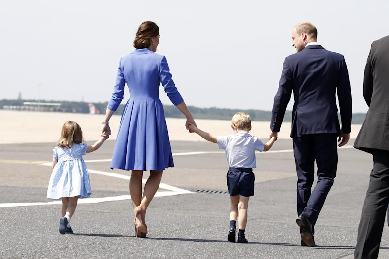 Prince William, Duke of Cambridge, Catherine, Duchess of Cambridge, Prince George of Cambridge and Prince William, Duke of Cambridge arrive at Berlin Tegel Airport during an official visit to Poland and Germany on July 19, 2017 in Berlin, Germany.