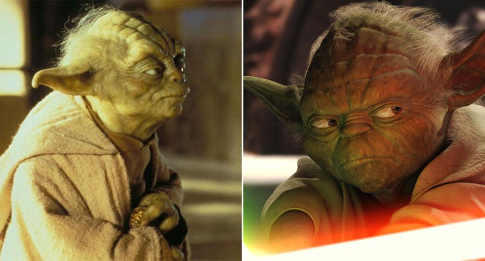The physical Yoda puppet in The Phantom Menace (L) compared to the CGI one in Attack of the Clones (20th Century Fox/Lucasfilm)