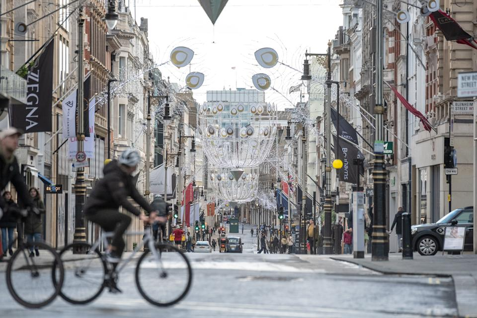 Old Bond Street quiet as new lockdown restrictions came into effect on December 20 in London, England. Source: Getty