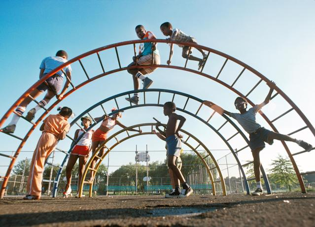 <p>Kids on jungle gym. (Photograph by Gary Settle/NYC Parks Photo Archive/Caters News) </p>