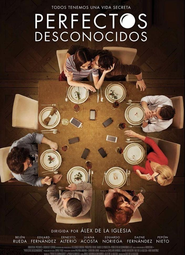 """<p>On the night of a red lunar eclipse, seven friends gather to have dinner together. What starts off as a typical get-together turns into an evening of revelations when hostess Eva (<strong><a href=""""https://www.imdb.com/name/nm0749104/"""" rel=""""nofollow noopener"""" target=""""_blank"""" data-ylk=""""slk:Belén Rueda"""" class=""""link rapid-noclick-resp"""">Belén Rueda</a></strong>) suggests they play a game. Everyone's phones are put on the dinner table and as text messages and calls come in, they will either be read out loud or put on speaker for everyone to hear. You can start imagining what begins to transpire as the truth is unwillingly told.</p><p><a class=""""link rapid-noclick-resp"""" href=""""https://www.amazon.com/Perfectos-Desconocidos-Cecilia-Su%C3%A1rez/dp/B07Q47LCXH?tag=syn-yahoo-20&ascsubtag=%5Bartid%7C10055.g.35564148%5Bsrc%7Cyahoo-us"""" rel=""""nofollow noopener"""" target=""""_blank"""" data-ylk=""""slk:STREAM NOW"""">STREAM NOW</a></p>"""