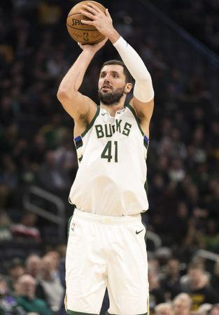 FILE PHOTO: Mar 19, 2019; Milwaukee, WI, USA; Milwaukee Bucks forward Nikola Mirotic (41) shoots the ball during the third quarter against the Los Angeles Lakers at Fiserv Forum. Mandatory Credit: Jeff Hanisch-USA TODAY Sports