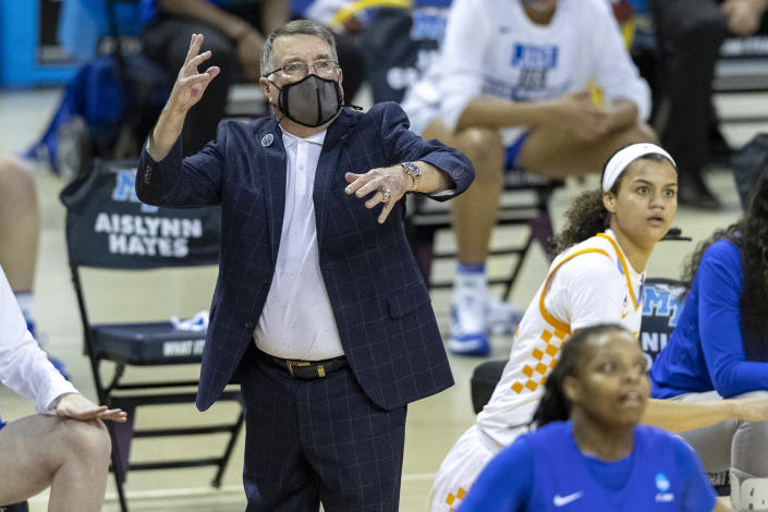 Middle Tennessee State head coach Rick Insell calls out to his team as they compete against Tennessee during the first half of a college basketball game in the first round of the women's NCAA basketball tournament at the Frank Erwin Center in Austin, Texas, Sunday, March 21, 2021. (AP Photo/Stephen Spillman)