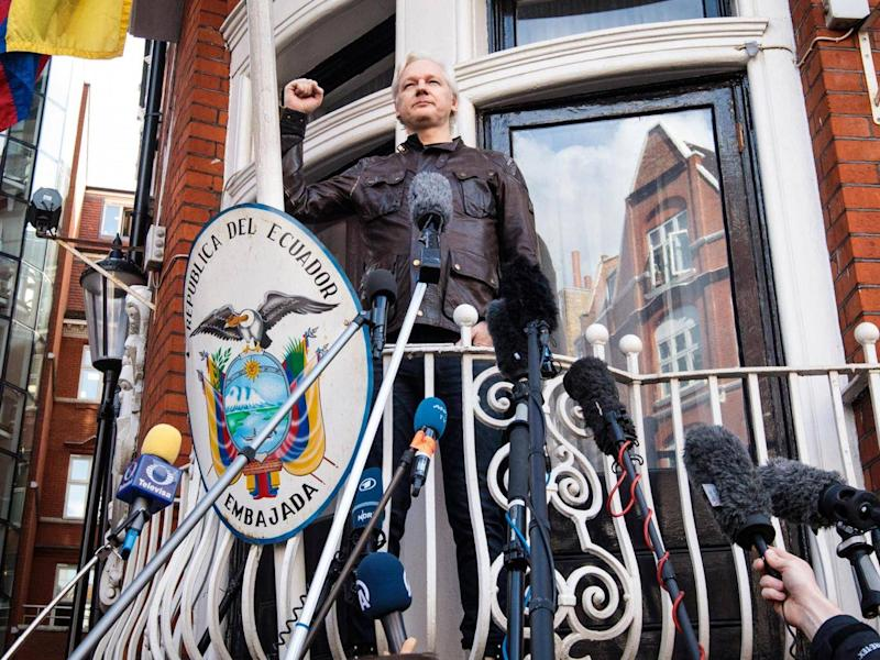 UK police have said Julian Assange faces arrest for breaching bail conditions if he leaves the embassy (Jack Taylor/Getty Images)