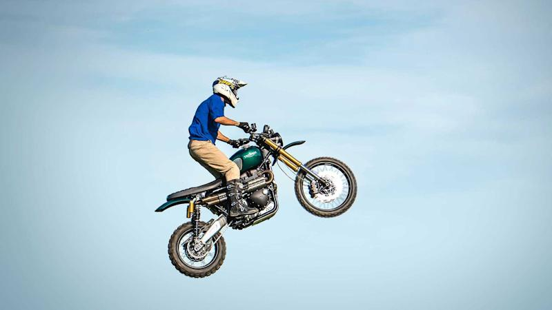 Guy Martin in mid air during The Great Escape jump