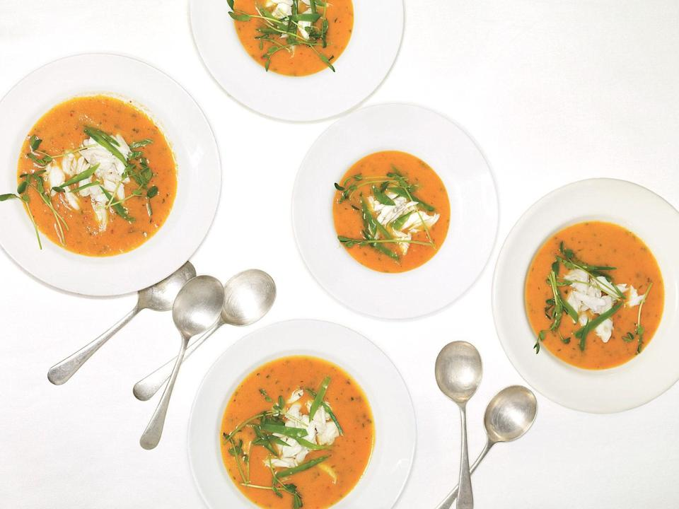 """This soup is equally delicious served hot or chilled. <a href=""""https://www.epicurious.com/recipes/food/views/tomato-and-crab-soup-366751?mbid=synd_yahoo_rss"""" rel=""""nofollow noopener"""" target=""""_blank"""" data-ylk=""""slk:See recipe."""" class=""""link rapid-noclick-resp"""">See recipe.</a>"""