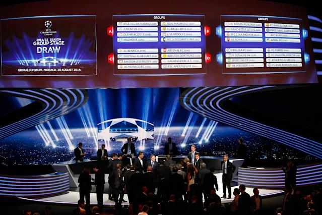 General view of the final draw for the UEFA Champions League group E, F, G, H, is seen on an electronic board after the draw, at the Grimaldi Forum, in Monaco, Thursday, Aug. 28, 2014. (AP Photo/Claude Paris)