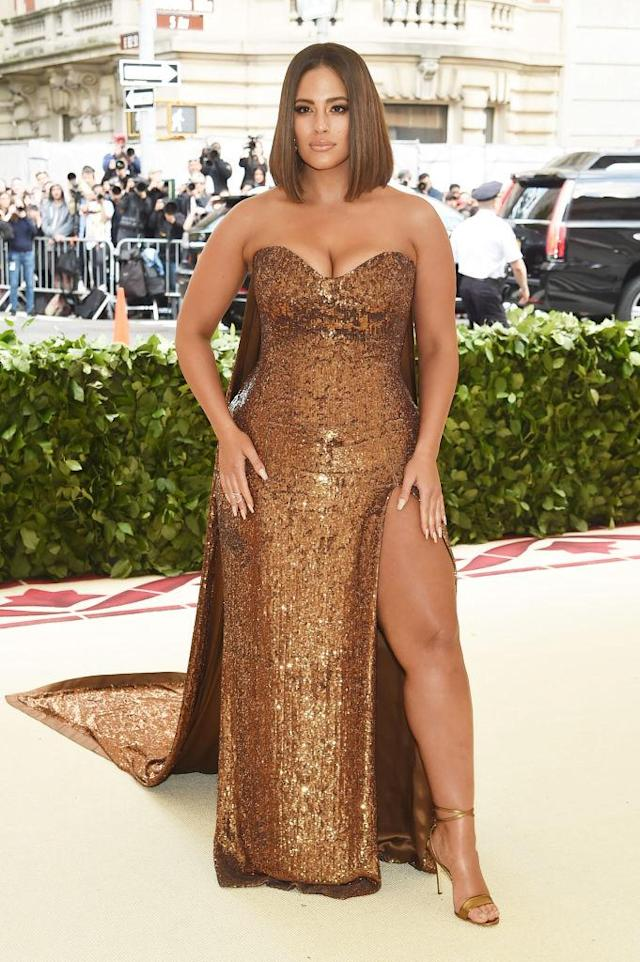 "<p>Graham showed off her <a href=""https://www.yahoo.com/lifestyle/internets-obsessed-ashley-grahams-thigh-met-gala-012945396.html"" data-ylk=""slk:heavenly body;outcm:mb_qualified_link;_E:mb_qualified_link"" class=""link rapid-noclick-resp newsroom-embed-article"">heavenly body</a> in a Prabal Gurung gown that featured one million sequins. (Photo: Getty Images) </p>"