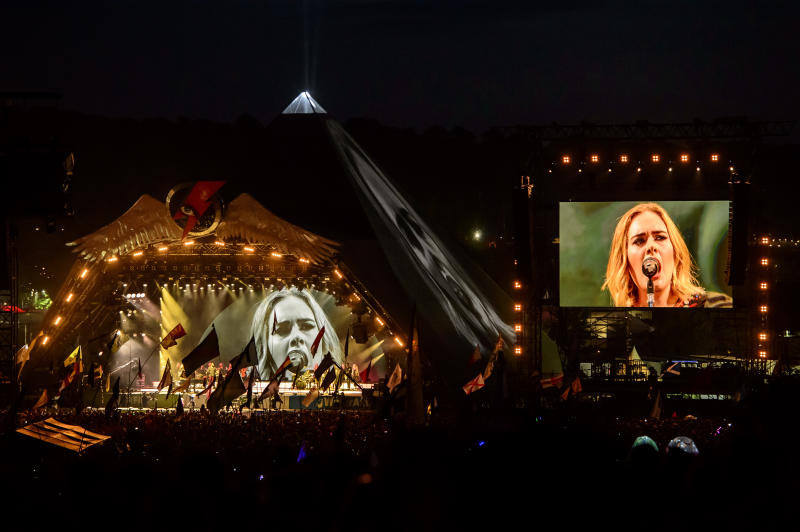 British singer Adele performs at the Glastonbury music festival at Worthy Farm, in Somerset, England, Saturday, June 25, 2016. (Photo by Jonathan Short/Invision/AP)