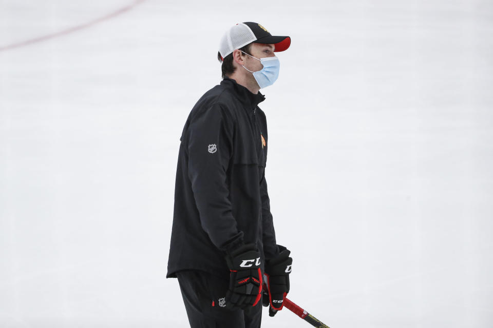 Chicago Blackhawks head coach Jeremy Collition, skates during NHL hockey practice at Fifth Third Arena on Monday, July 13, 2020, in Chicago. (AP Photo/Kamil Krzaczynski)