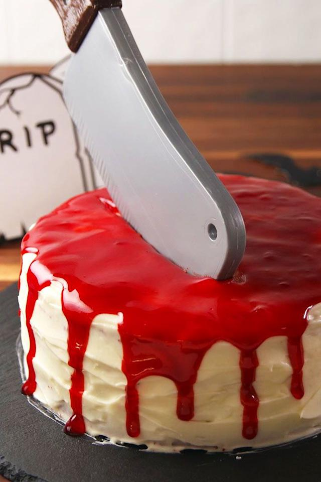 """<p>If the red wedding taught us anything it's that NO ONE is safe. This cake celebrates and taunts this morbid <em>GoT</em> fact. </p><p>Get the recipe from <a href=""""https://www.delish.com/cooking/recipe-ideas/recipes/a55554/dead-velvet-cake-recipe/"""">Delish</a>.</p>"""