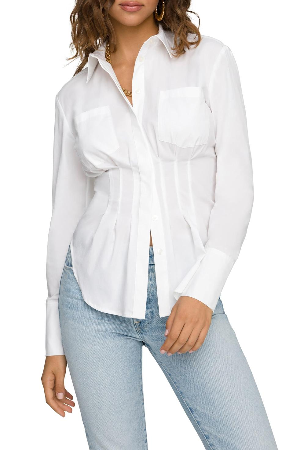 <p><span>Good American Dart Waist Button-Up Shirt</span> ($97, originally $129)</p>