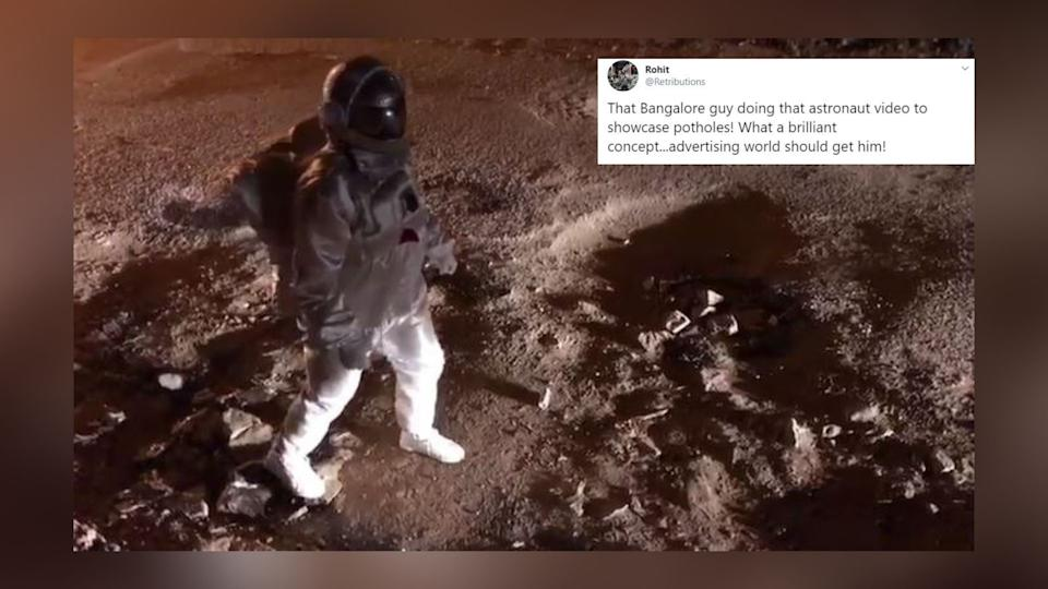 """The video shot in Bengaluru shows the man """"moonwalking"""" on a patchy land, resembling that of the moon's surface."""