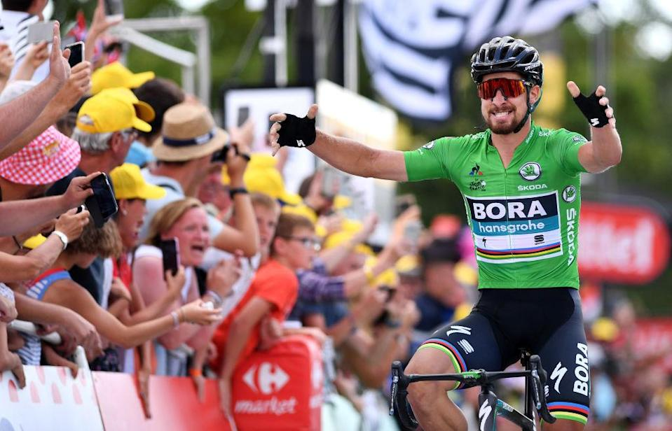 QUIMPER, FRANCE - JULY 11: Arrival / Peter Sagan of Slovakia and Team Bora Hansgrohe Green Sprint Jersey / Celebration / during the 105th Tour de France 2018, Stage 5 a 204,5km stage from Lorient to Quimper / TDF / on July 11, 2018 in Quimper, France. (Photo by Justin Setterfield/Getty Images)