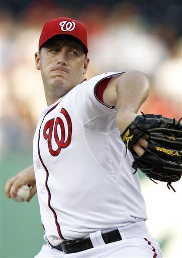 Washington Nationals starting pitcher Jordan Zimmermann throws against the Pittsburgh Pirates during the first inning of a baseball game, Thursday, May 17, 2012, in Washington. (AP Photo/Haraz N. Ghanbari)