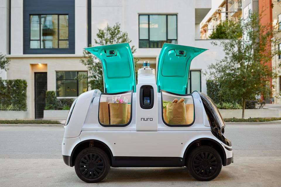 Nuro's second-generation R2 delivery robot.
