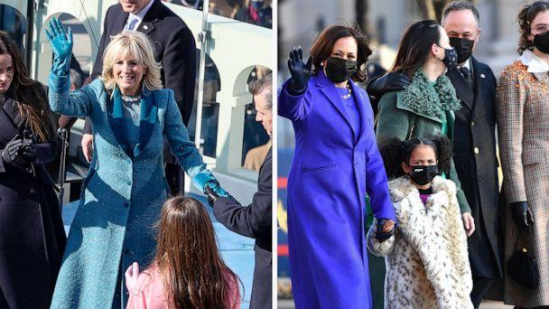 PHOTO: Dr. Jill Biden and Vice President Kamala Harris are seen with their families in a composite file image. (Getty Images, FILE)
