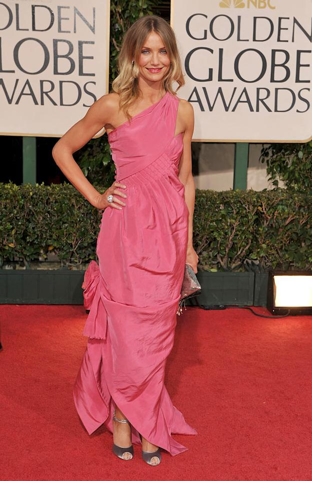 "Cameron Diaz's Pepto abysmal Chanel Haute Couture frock and loose locks failed to impress on the red carpet. Steve Granitz/<a href=""http://www.wireimage.com"" target=""new"">WireImage.com</a> - January 11, 2009"