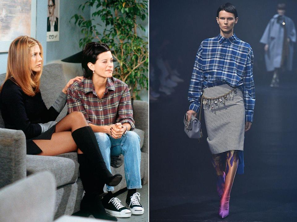 <p><strong>The moment: </strong>Season 4, episode 8</p><p>Of course, as Monica knows, the checked shirt never goes out of style, something which she expertly proves in season four. Teamed with lightwash jeans, simple sneakers and a great bob, the look is low-key and timeless. </p><p>A special mention here for Rachel's thigh-grazing mini skirt and knee-high boots; an outfit that Jennifer Aniston pulls off flawlessly and that any fashion fan would happily wear today. </p>