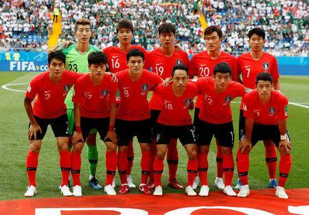 FILE PHOTO: Soccer Football - World Cup - Group F - South Korea vs Mexico - Rostov Arena, Rostov-on-Don, Russia - June 23, 2018 South Korea players pose for a team group photo before the match REUTERS/Jason Cairnduff