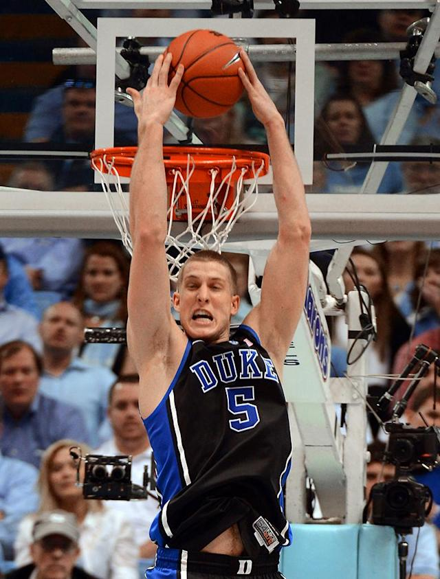Mason Plumlee, F, Duke: He's still in college? If it seems like forever, it's because his brother Miles starred at Duke for four years, and this is his fourth season, a rarity in college basketball these days. Mason Plumlee is a double-double machine, recording 17 of them during the regular season. He's Duke's leading scorer and rebounder.