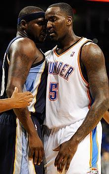 Kendrick Perkins (right) hasn't shied from the challenge of going to toe-to-toe with Grizzlies forward Zach Randolph