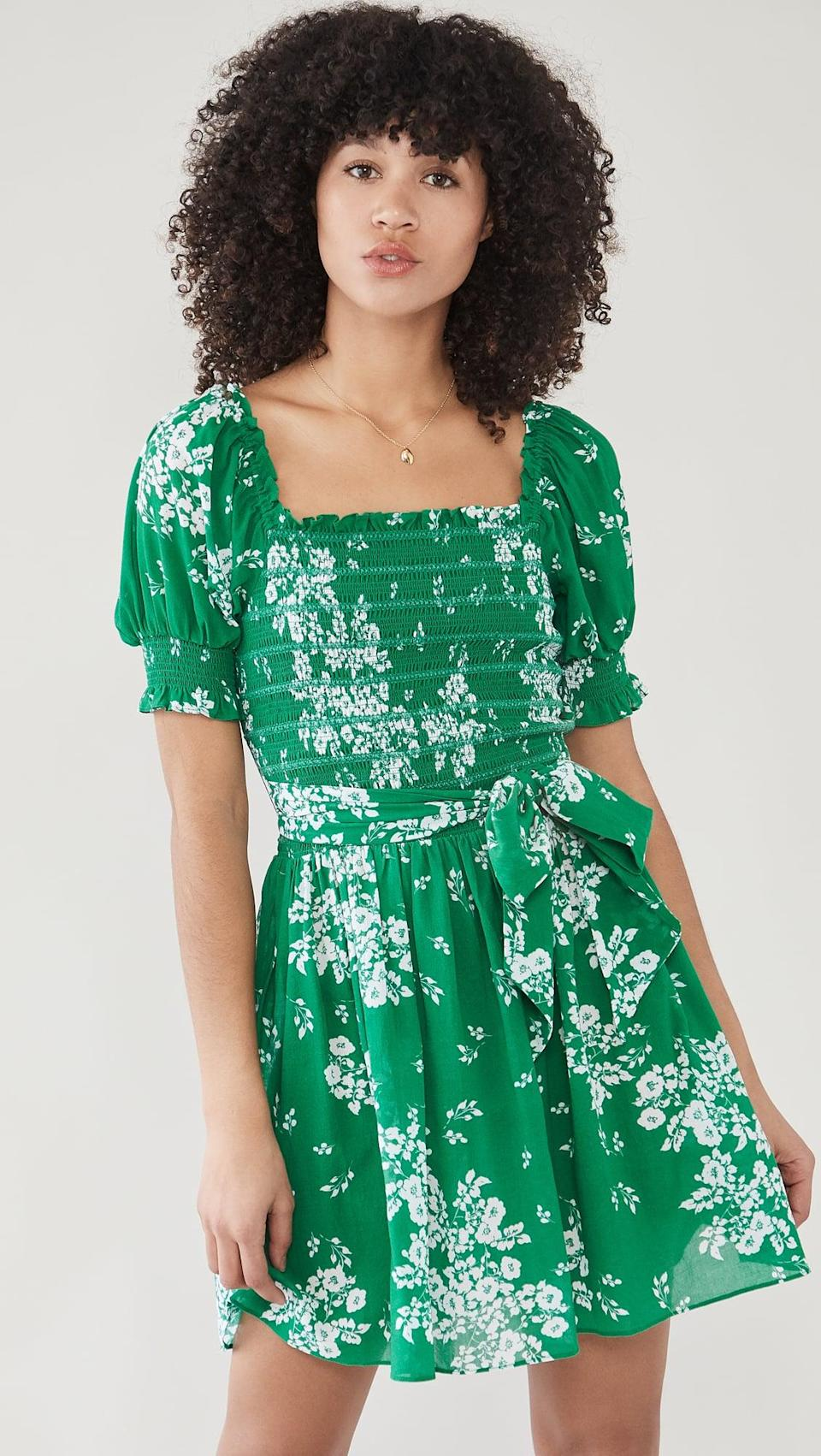 <p>Go green in this cute <span>Shoshanna Cosmos Mini Dress</span> ($398).</p>
