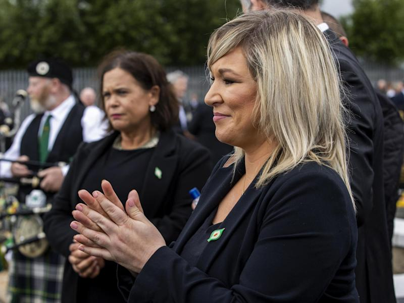 Deputy first minister Michelle O'Neill attends the funeral of Bobby Storey in west Belfast on 30 July, 2020: Liam McBurney/PA Wire