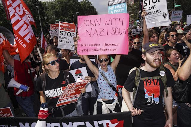 <p>Thousands of counterprotesters gathered around Reggie Lewis Center to get ready for antifascist protest march to Boston Common in Boston, Mass., on Saturday, Aug. 19, 2017. (Photo: Go Nakamura via ZUMA Wire) </p>