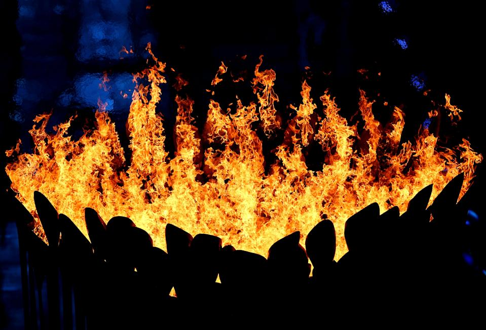 The Olympic Cauldron burns during the Closing Ceremony on Day 16 of the London 2012 Olympic Games at Olympic Stadium on August 12, 2012 in London, England. (Photo by Michael Steele/Getty Images)