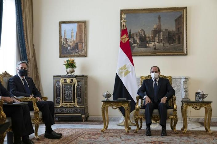 Secretary of State Antony Blinken, left, is seated during a meeting with Egyptian President Abdel Fattah el-Sissi at the Heliopolis Presidential Palace, Wednesday, May 26, 2021, in Cairo, Egypt. (AP Photo/Alex Brandon, Pool)