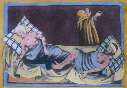 "<span class=""caption"">A 1411 depiction of a man and woman suffering with bubonic plague, or ""Black Death"". </span> <span class=""attribution""><a class=""link rapid-noclick-resp"" href=""https://www.shutterstock.com/image-illustration/man-women-bubonic-plague-characteristic-buboes-237231865"" rel=""nofollow noopener"" target=""_blank"" data-ylk=""slk:Everett Historical/ Shutterstock"">Everett Historical/ Shutterstock</a></span>"