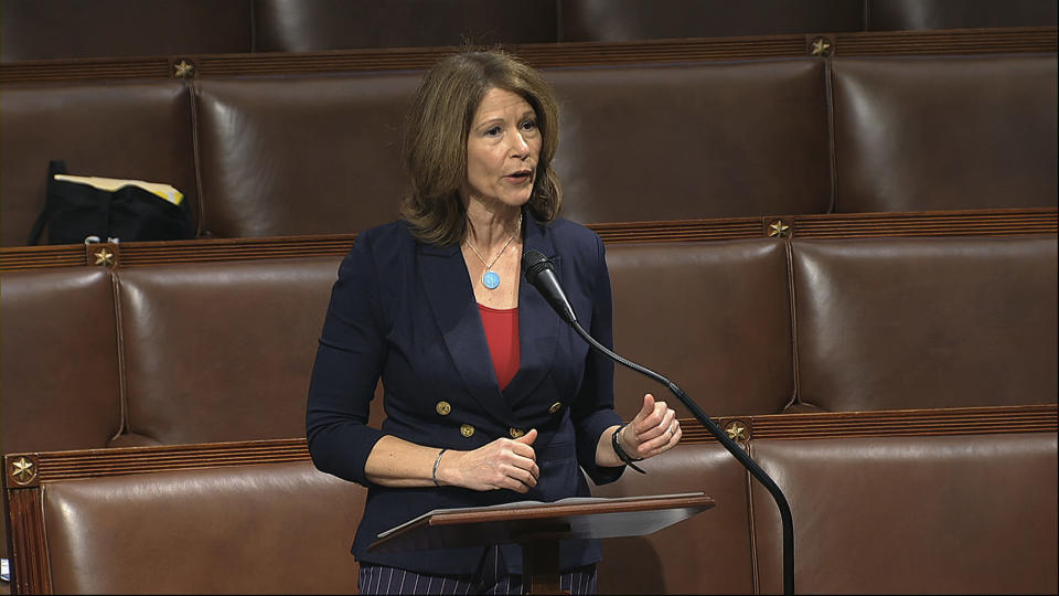 FILE - In this April 23, 2020 file image from video, Rep. Cheri Bustos, D-Ill., speaks on the floor of the House of Representatives at the U.S. Capitol in Washington. Bustos has been reelected to a fifth term after fending off Republican challenger Esther Joy King in northwestern Illinois. (House Television via AP, File)