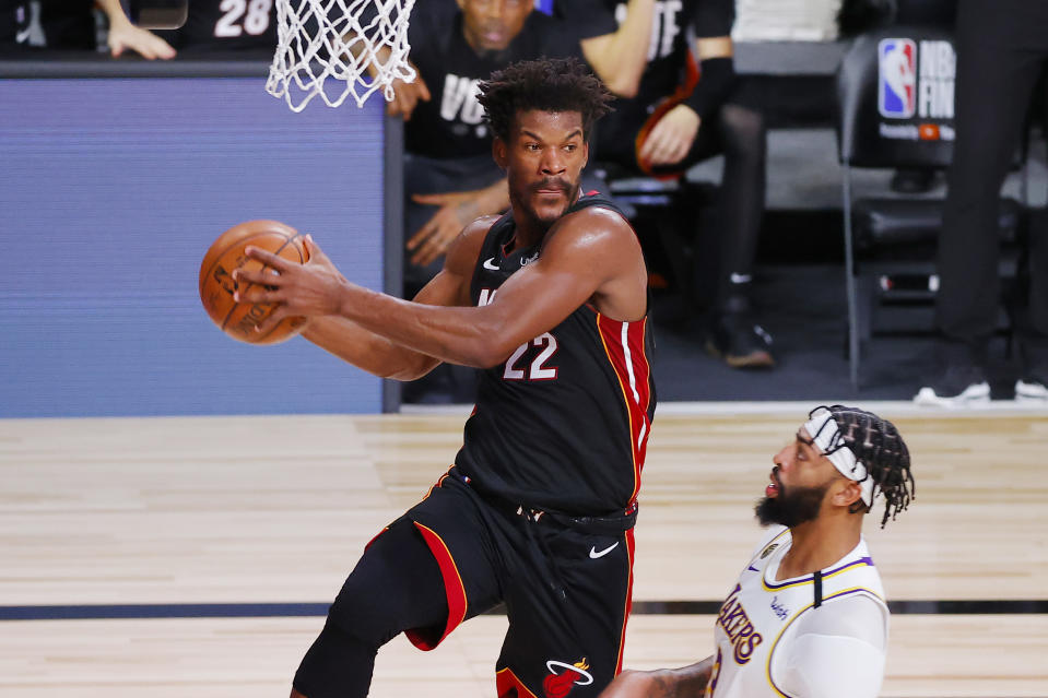 Jimmy Butler #22 of the Miami Heat handles the ball during the first half against the Los Angeles Lakers in Game Three of the 2020 NBA Finals