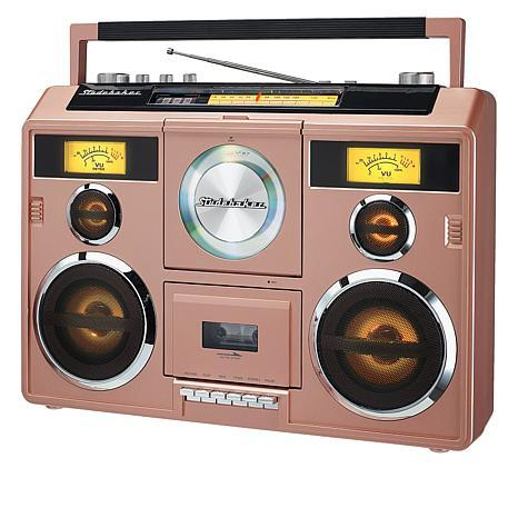 Channel the 80's with this retro boombox available in four hot colors
