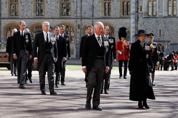 PHOTO: Prince Charles, Prince of Wales, and other members of the royal family follow Prince Philip, Duke of Edinburgh's coffin during the Ceremonial Procession at Windsor Castle on April 17, 2021, in Windsor, England. (Alastair Grant/WPA Pool via Getty Images)