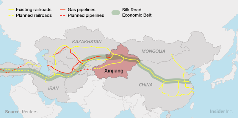 xinjiang belt and road map