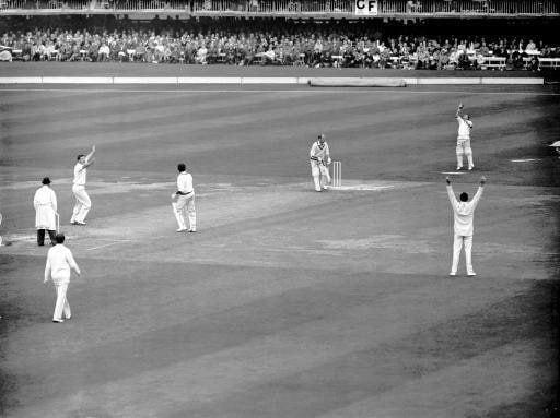 Thomson, left, celebrates taking the wicket of Worcestershire's Dick Richardson, caught by wicketkeeper Jim Parks, in 1963: Parks has now succeeded his former team-mate as England's oldest surviving male Test cricketer - S&G/S&G and Barratts/EMPICS Sport