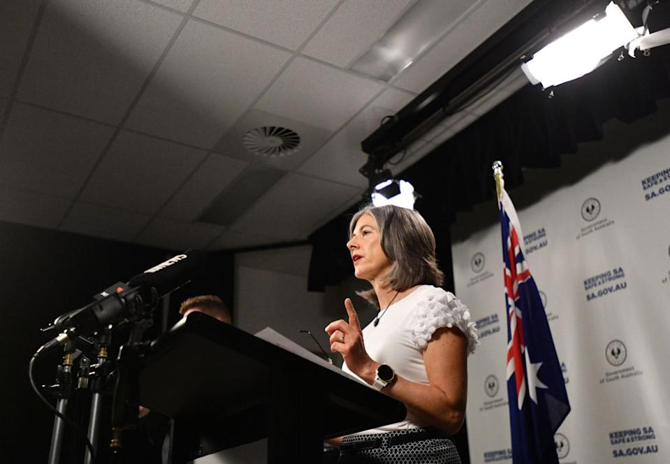 South Australian Chief public health officer Nicola Spurrier speaks to the media during a COVID19 briefing at the State Administration in Adelaide.