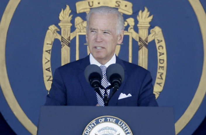 Vice President Joe Biden speaks at the U.S. Naval Academy's graduation and commissioning ceremony, Friday, May 22, 2015, in Annapolis, Md. (Patrick Semansky/AP Photo)
