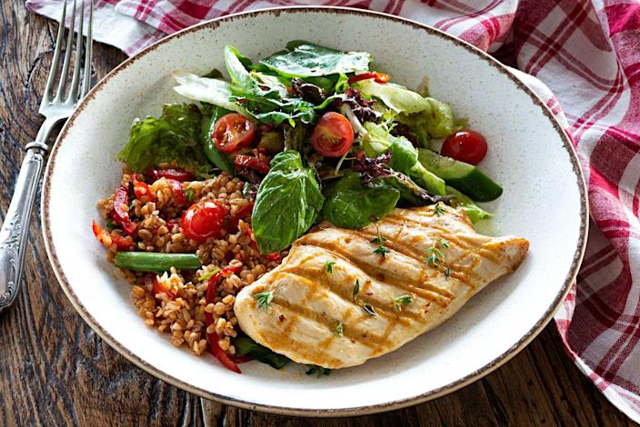 """<p>Skinless <a href=""""https://www.prevention.com/food-nutrition/g20468396/slimming-chicken-breast-recipes/"""" rel=""""nofollow noopener"""" target=""""_blank"""" data-ylk=""""slk:chicken"""" class=""""link rapid-noclick-resp"""">chicken</a> or <a href=""""https://www.prevention.com/food-nutrition/healthy-eating/g20452160/leftover-turkey-recipes-and-meal-ideas/"""" rel=""""nofollow noopener"""" target=""""_blank"""" data-ylk=""""slk:turkey"""" class=""""link rapid-noclick-resp"""">turkey</a> and <a href=""""https://www.prevention.com/food-nutrition/recipes/a20522163/baked-pork-tenderloin-and-apple-salad/"""" rel=""""nofollow noopener"""" target=""""_blank"""" data-ylk=""""slk:pork tenderloin"""" class=""""link rapid-noclick-resp"""">pork tenderloin</a> are the best picks. """"Protein helps promote the growth and repair of body tissues and is also super satiating,"""" says <a href=""""https://www.instagram.com/the_dietitian_kitchen/?hl=en"""" rel=""""nofollow noopener"""" target=""""_blank"""" data-ylk=""""slk:Kerri Major"""" class=""""link rapid-noclick-resp"""">Kerri Major</a>, R.D., certified personal trainer and author of the forthcoming <em><a href=""""https://www.amazon.com/Dietitian-Kitchen-Nutrition-Fitness-Healthy/dp/1782551840?tag=syn-yahoo-20&ascsubtag=%5Bartid%7C10050.g.35715141%5Bsrc%7Cyahoo-us"""" rel=""""nofollow noopener"""" target=""""_blank"""" data-ylk=""""slk:The Dietitian Kitchen"""" class=""""link rapid-noclick-resp"""">The Dietitian Kitchen</a></em>. """"Including a lean source of protein with a meal can help to minimize feelings of hunger and decrease overall energy intake.""""</p>"""