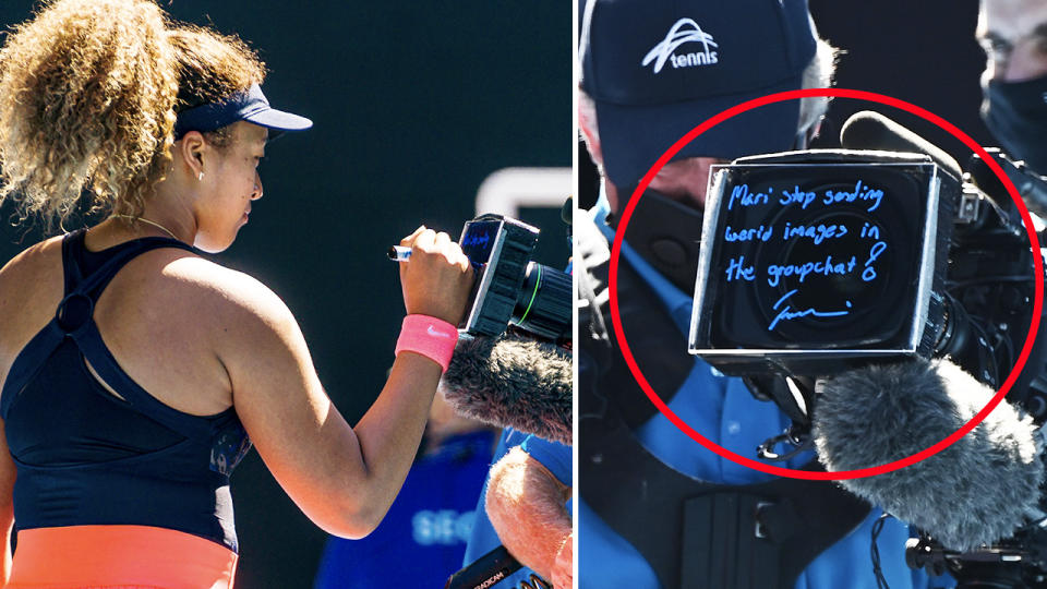 Naomi Osaka, pictured here sending a message to her sister after winning through to the Australian Open final.