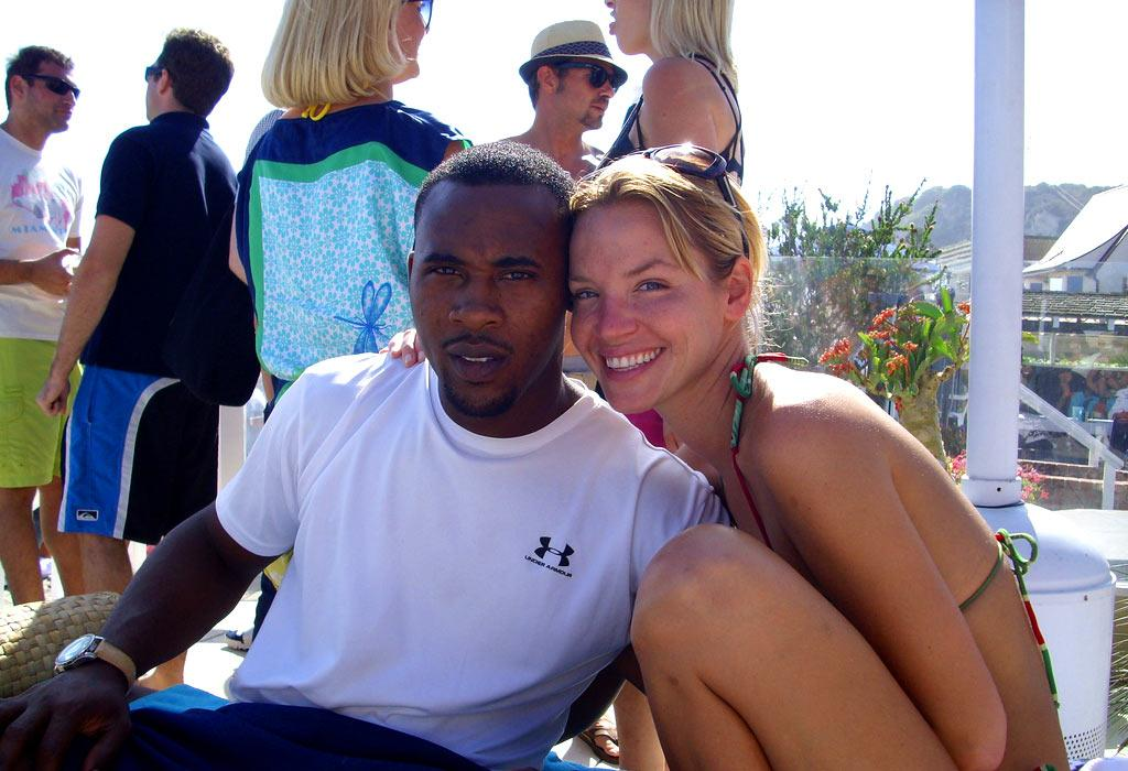 """Jericho"" actress Ashley Scott and friend lounge around. omg! Staff/Polaroid Malibu Beach House - August 13, 2007"