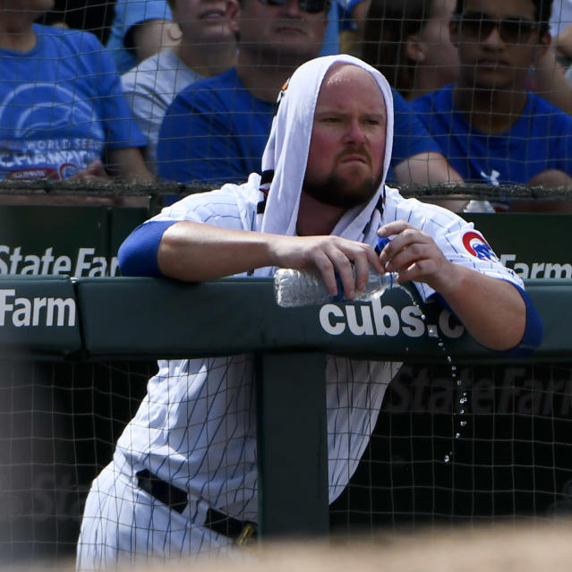 Chicago Cubs starting pitcher Jon Lester (34) looks on after being relieved in the sixth inning a baseball game against the Minnesota Twins on Sunday, July 1, 2018, in Chicago. (AP Photo/Matt Marton)