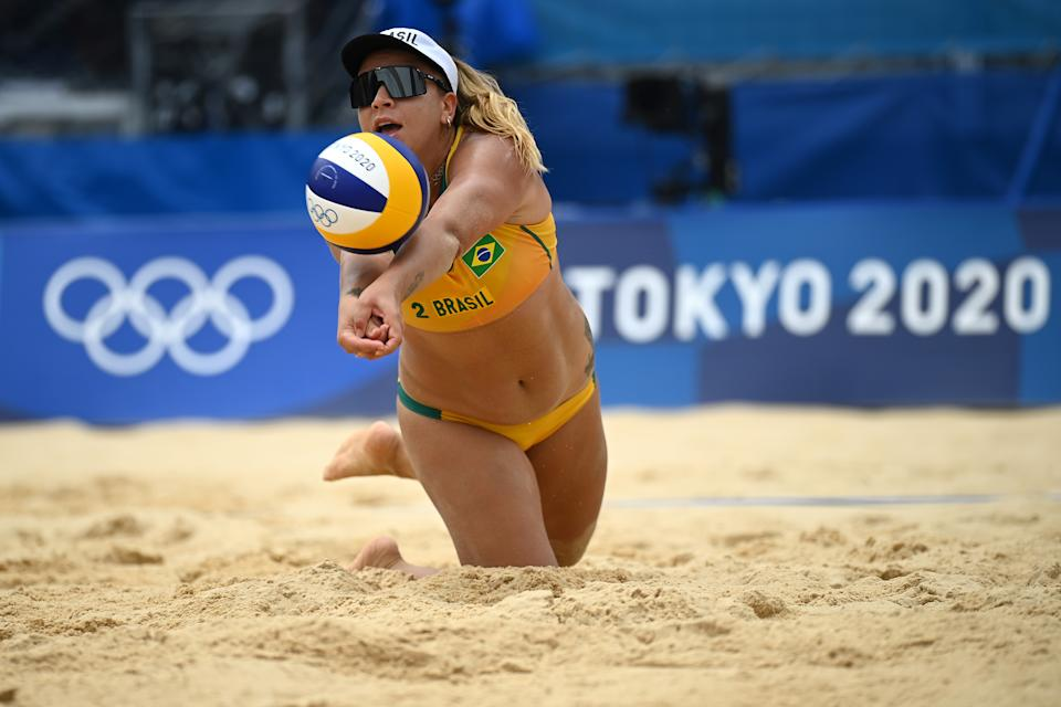 TOKYO, JAPAN - JULY 26: Rebecca Silva #2 of Team Brazil returns the ball against Team Kenya during the Women's Preliminary - Pool D beach volleyball on day three of the Tokyo 2020 Olympic Games at Shiokaze Park on July 26, 2021 in Tokyo, Japan. (Photo by Matthias Hangst/Getty Images)